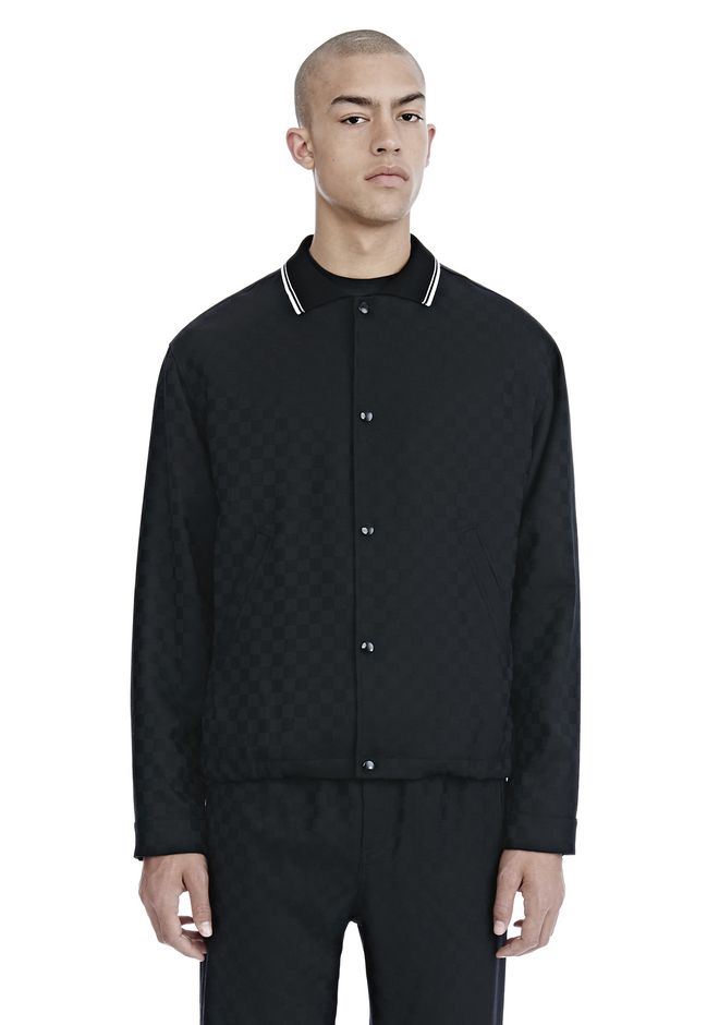 ALEXANDER WANG JACKETS AND OUTERWEAR  Men CHECKERBOARD WOOL JACQUARD COACH'S JACKET