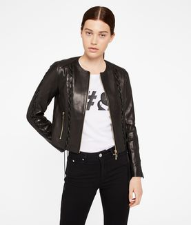 KARL LAGERFELD LEATHER JACKET W/ LACING