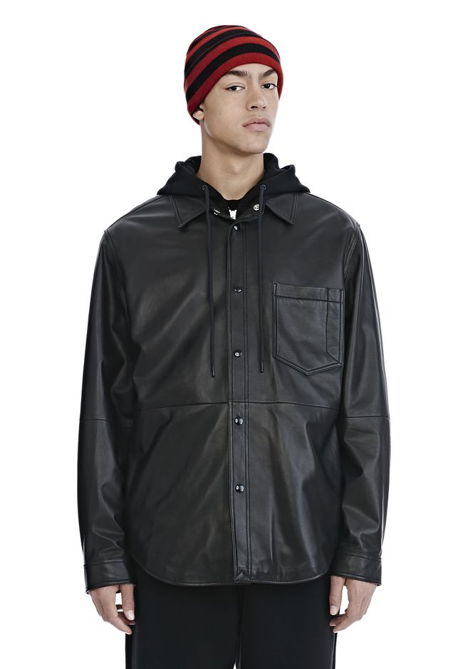 ALEXANDER WANG nwvmens-apparel LEATHER COMBO HOODED SHIRT