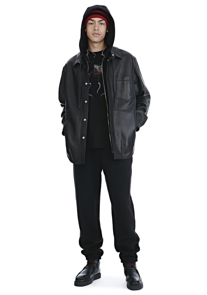 ALEXANDER WANG LEATHER COMBO HOODED SHIRT JACKETS AND OUTERWEAR  Adult 12_n_f