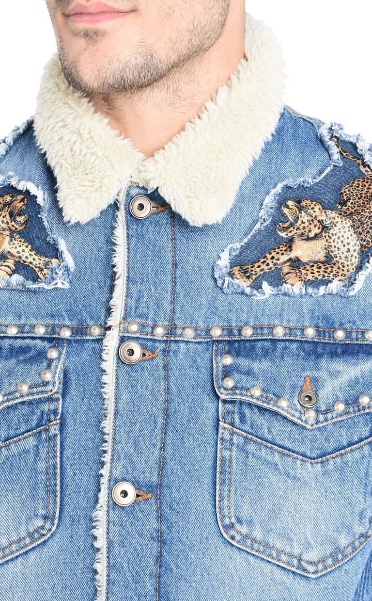 JUST CAVALLI Fur-lined denim jacket Denim Jacket U e
