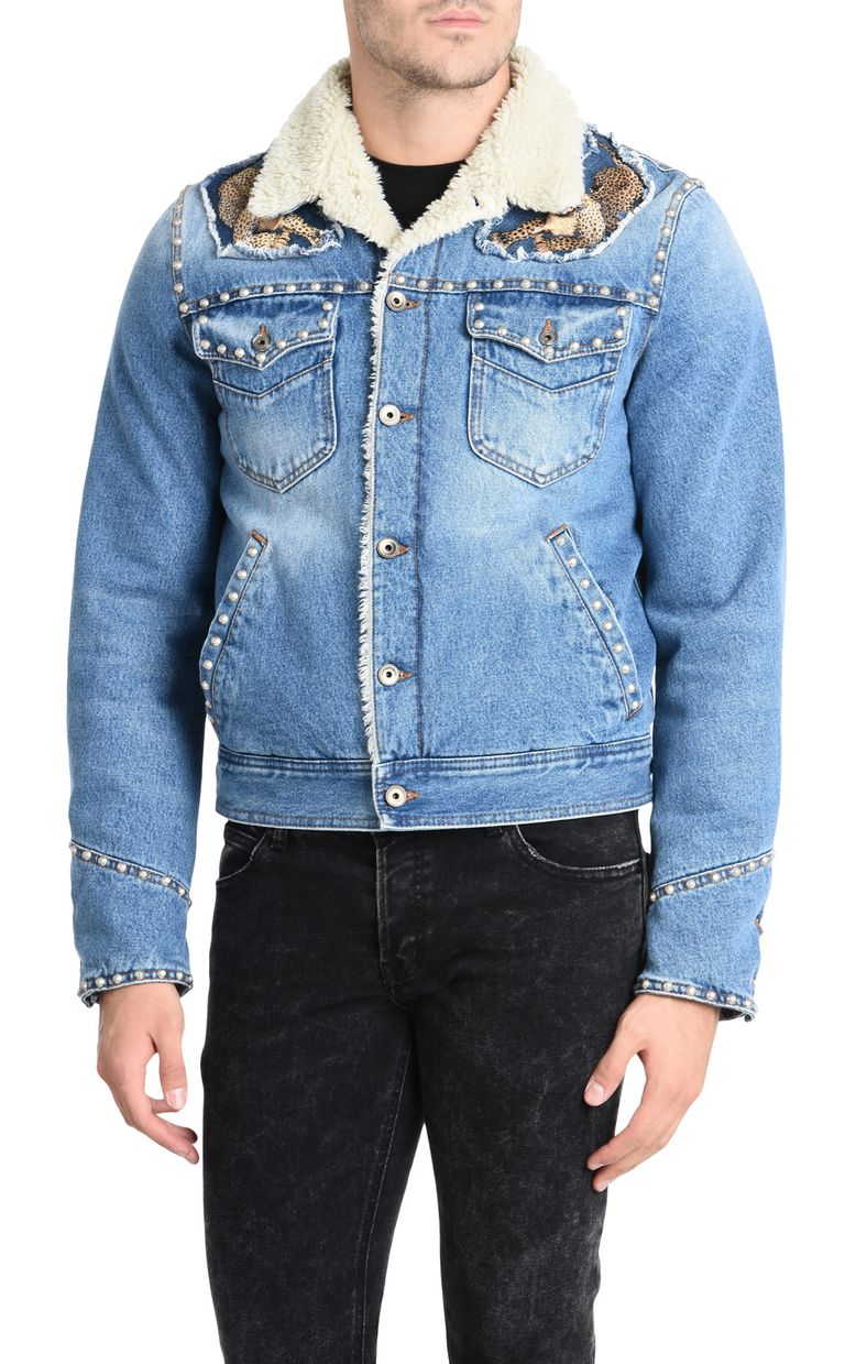 JUST CAVALLI Fur-lined denim jacket Denim Jacket U f