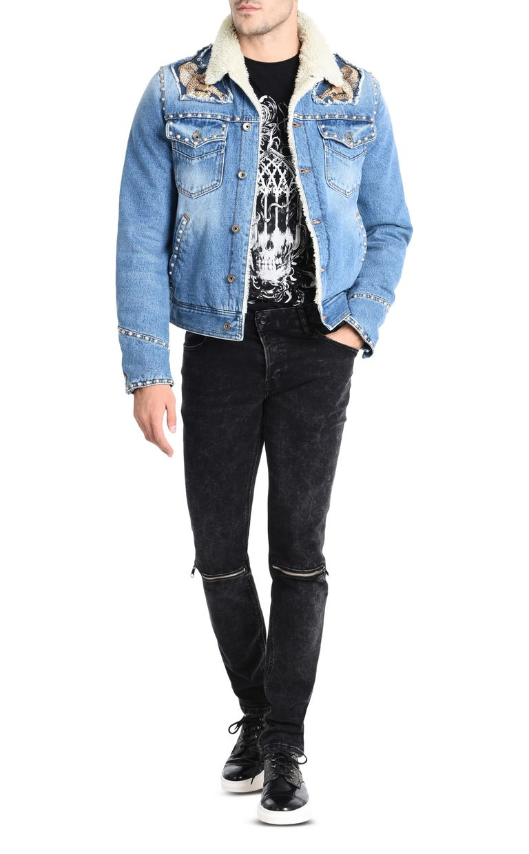 JUST CAVALLI Fur-lined denim jacket Denim Jacket U r