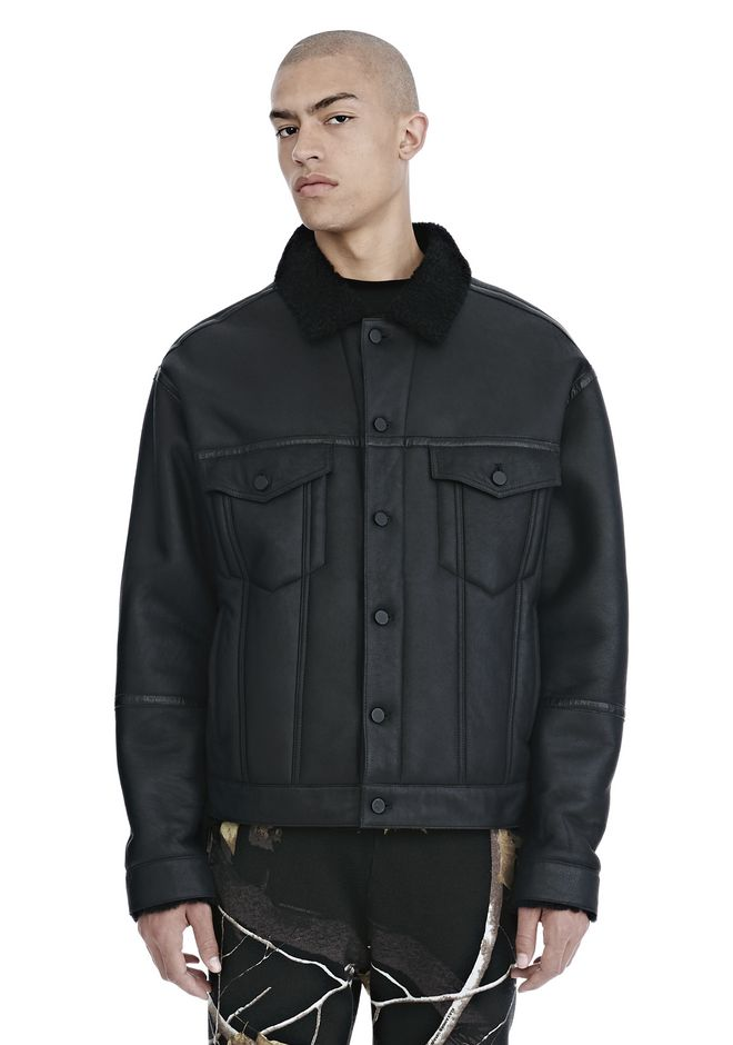 ALEXANDER WANG JACKETS AND OUTERWEAR  Men EXCLUSIVE SHEARLING DENIM JACKET