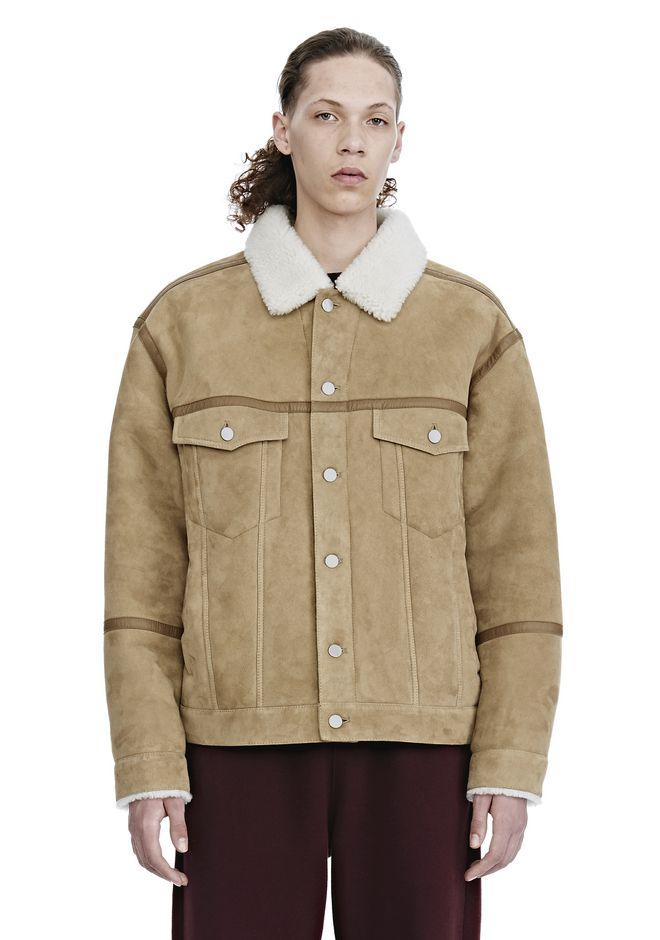 ALEXANDER WANG nwvmens-apparel SHEARLING DENIM JACKET