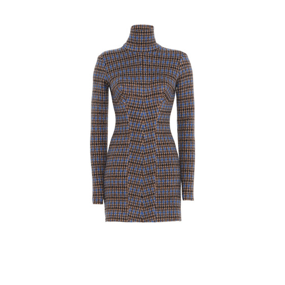 Roll Neck Check Dress