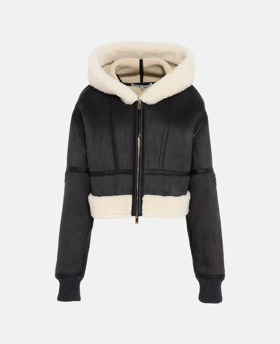 Hana 短款科技剪羊毛外套