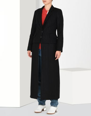 MM6 by MAISON MARGIELA Coat D Long pinstripe felt coat f