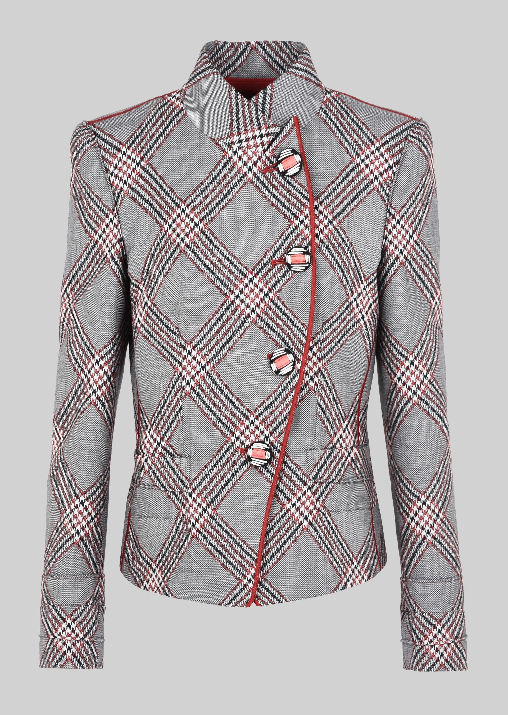 GIORGIO ARMANI SINGLE-BREASTED WOOL JACQUARD JACKET Fashion Jacket D r