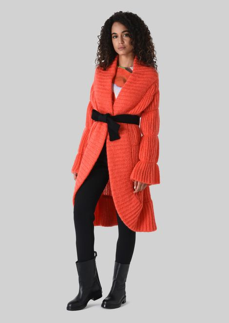 LONG CARDIGAN IN WOOL AND MOHAIR