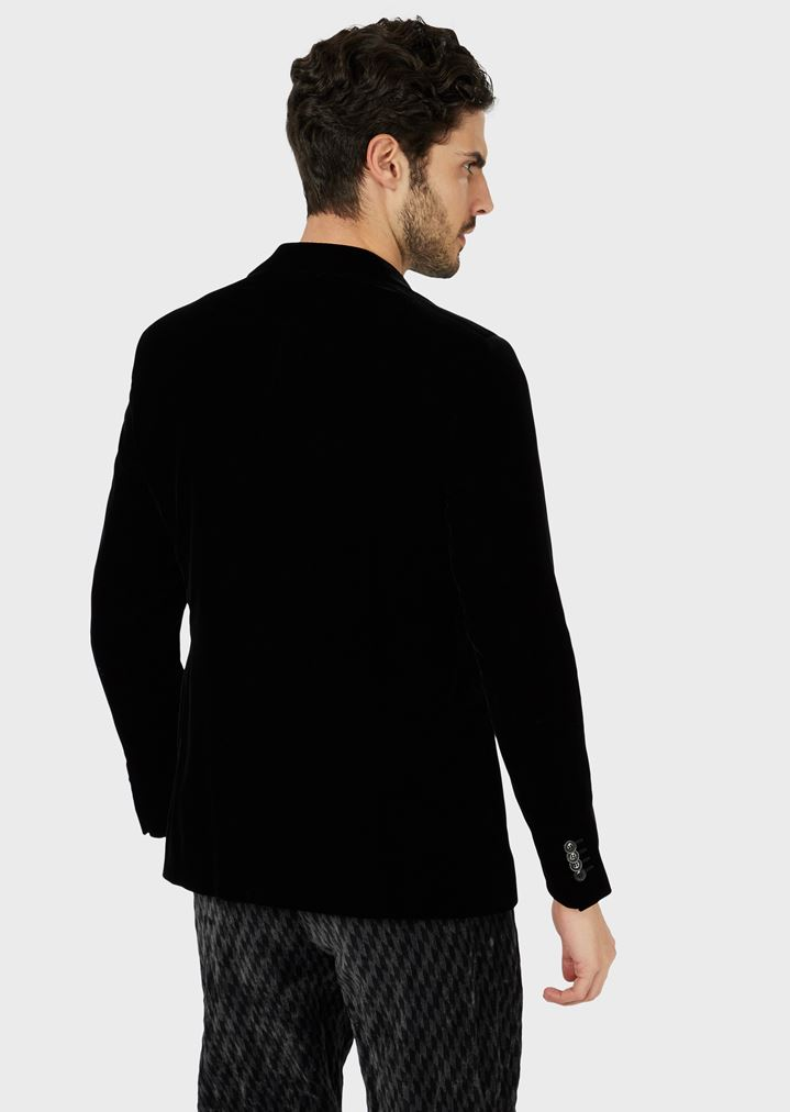 ... GIORGIO ARMANI SINGLE-BREASTED VELVET JACKET Formal Jacket Man r ...