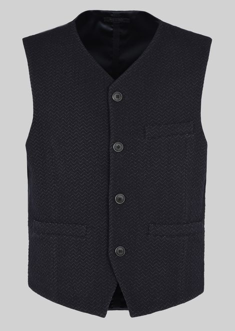 GILET IN STRETCH WOOL JACQUARD