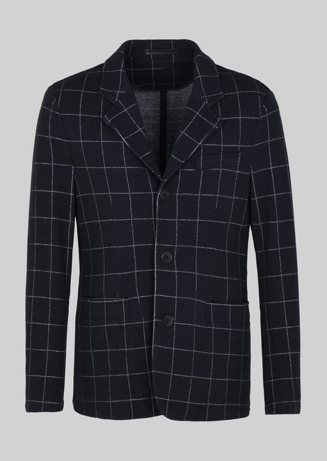 SINGLE-BREASTED WOOL AND COTTON JERSEY JACKET