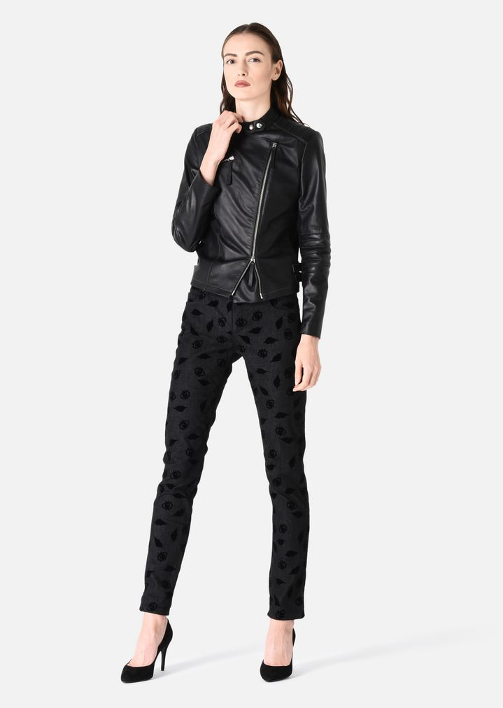 LEATHER BIKER JACKET WITH JERSEY DETAILS   Woman   Emporio Armani 34ce52816b4