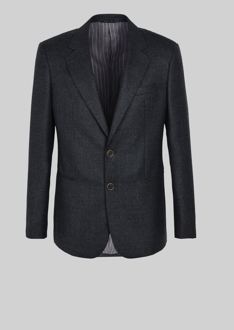 SINGLE-BREASTED JACKET IN WOOL AND CASHMERE