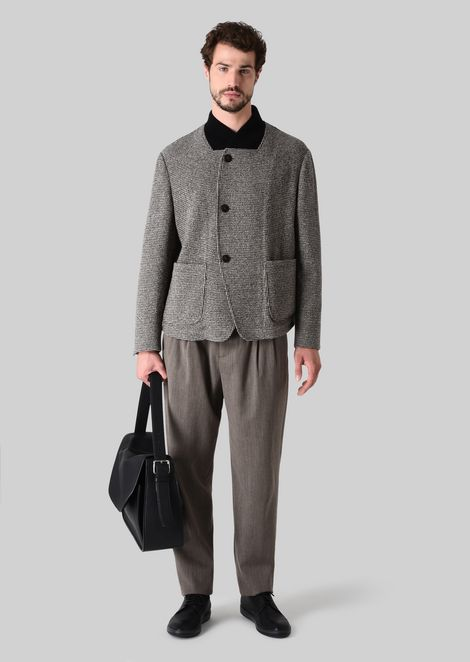 SINGLE-BREASTED JACKET IN STRETCH WOOL TWILL