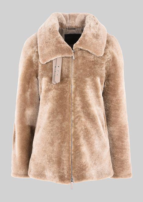 SINGLE-BREASTED PEA COAT IN SHEEPSKIN
