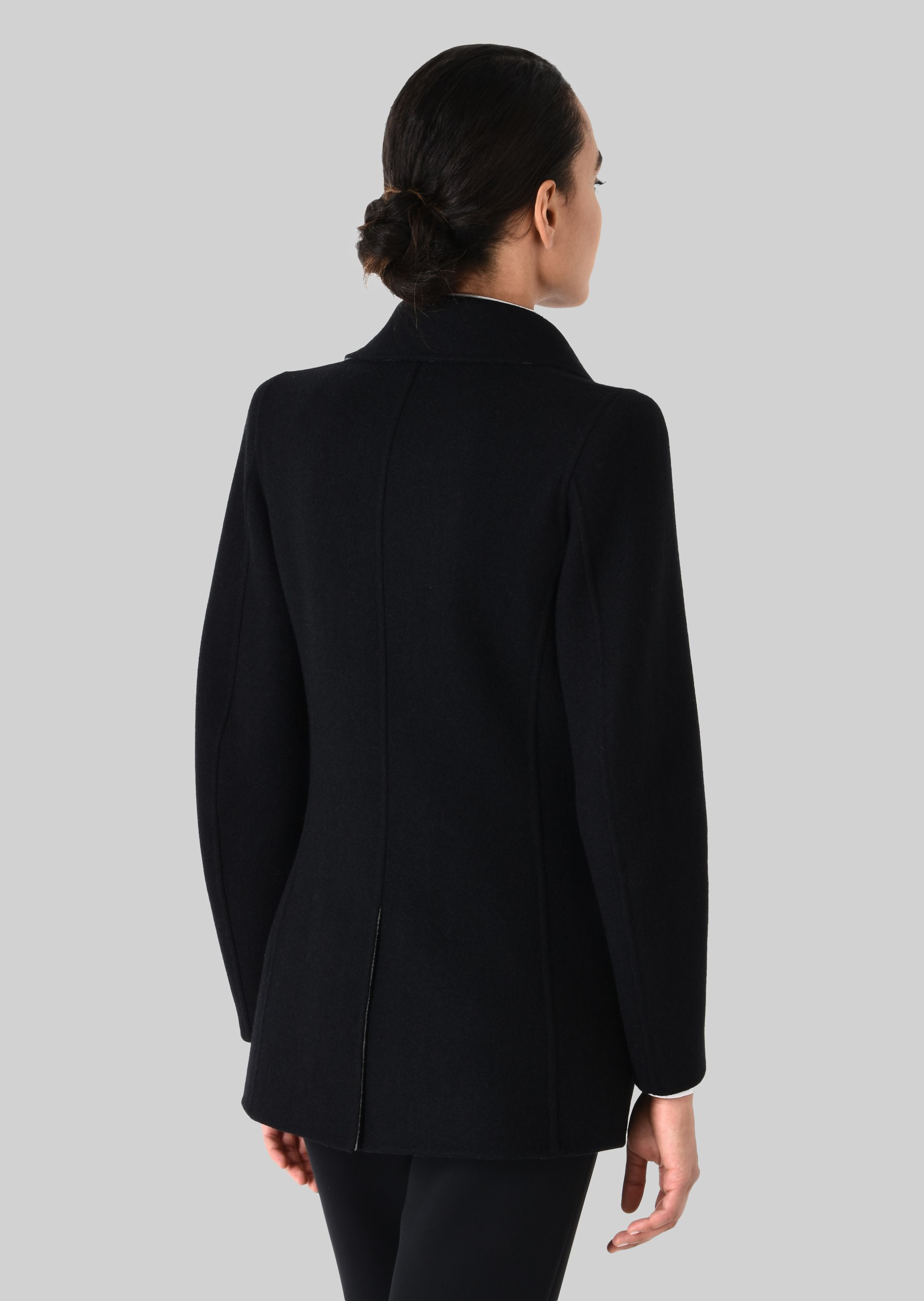 SINGLE BREASTED PEA COAT IN CASHMERE for Women |