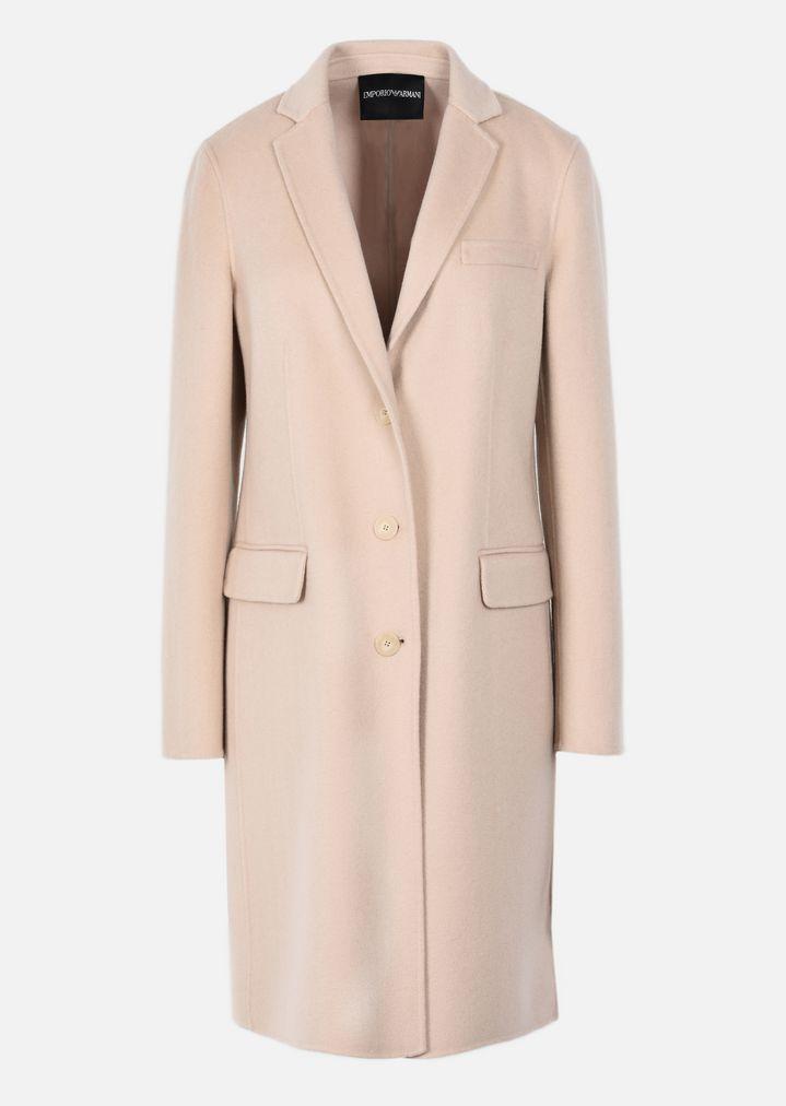 ... EMPORIO ARMANI CASHMERE DOUBLE CLOTH COAT WITH CLASSIC LAPELS Classic  Coat Woman r ...