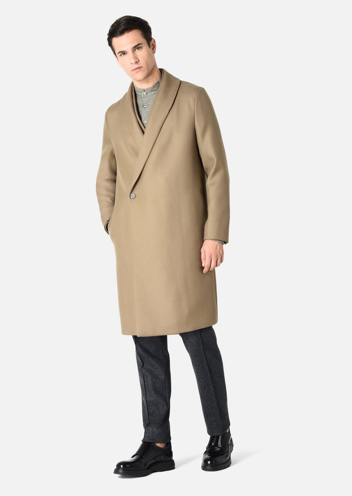 EMPORIO ARMANI COAT IN VIRGIN WOOL DOUBLE COLLAR Classic Coat Man f