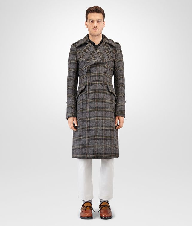 BOTTEGA VENETA MULTICOLOUR CHECK WOOL COAT Outerwear and Jacket Man fp