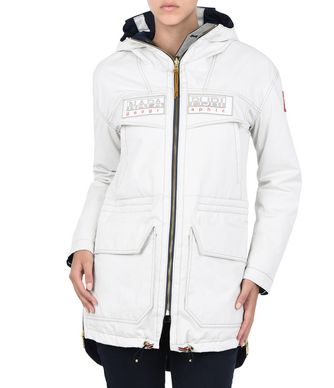 NAPAPIJRI AUCKLAND REVERSIBLE WOMAN LONG JACKET,IVORY
