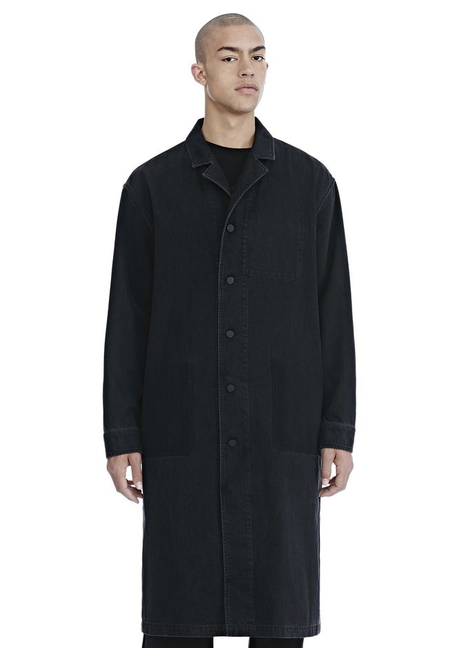 ALEXANDER WANG TRENCHES Men BLACK DENIM LAB COAT