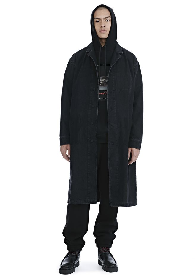 ALEXANDER WANG BLACK DENIM LAB COAT TRENCH Adult 12_n_f