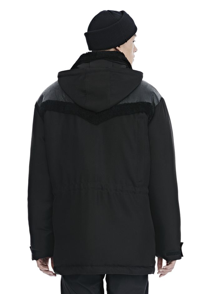 ALEXANDER WANG TUXEDO TWILL AND LEATHER DOWN WESTERN PARKA PARKA Adult 12_n_d