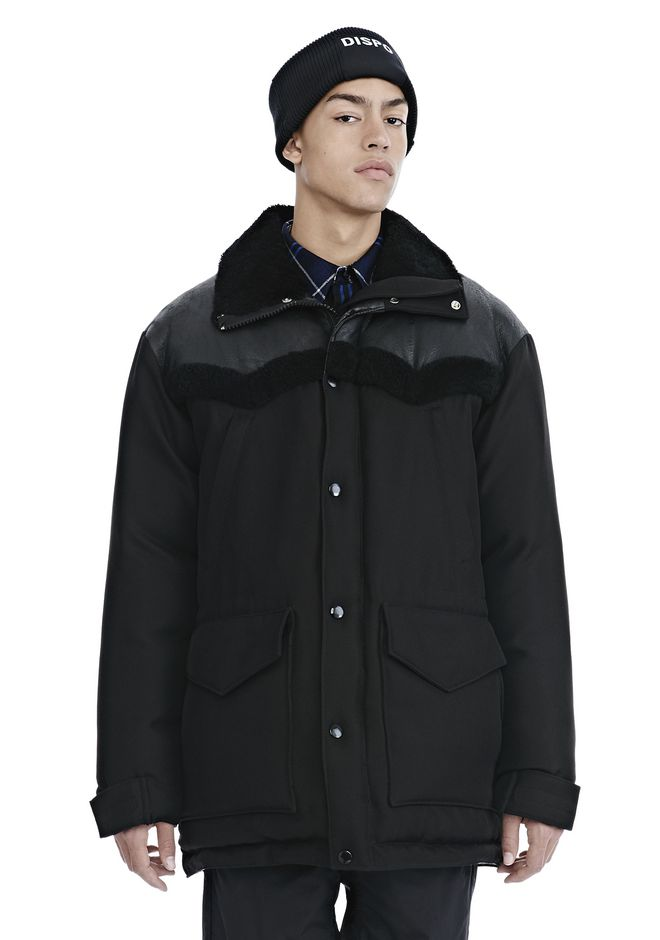 ALEXANDER WANG TUXEDO TWILL AND LEATHER DOWN WESTERN PARKA PARKA Adult 12_n_e