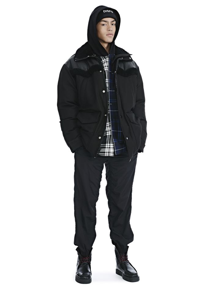 ALEXANDER WANG TUXEDO TWILL AND LEATHER DOWN WESTERN PARKA PARKA Adult 12_n_f