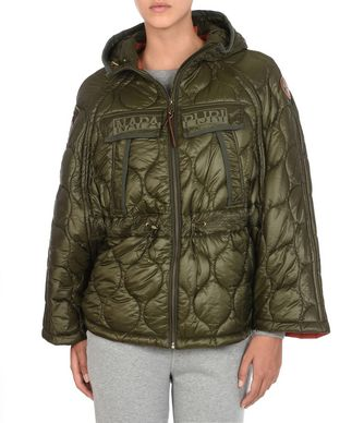 NAPAPIJRI AICHY CAPE WOMAN SHORT JACKET,MILITARY GREEN