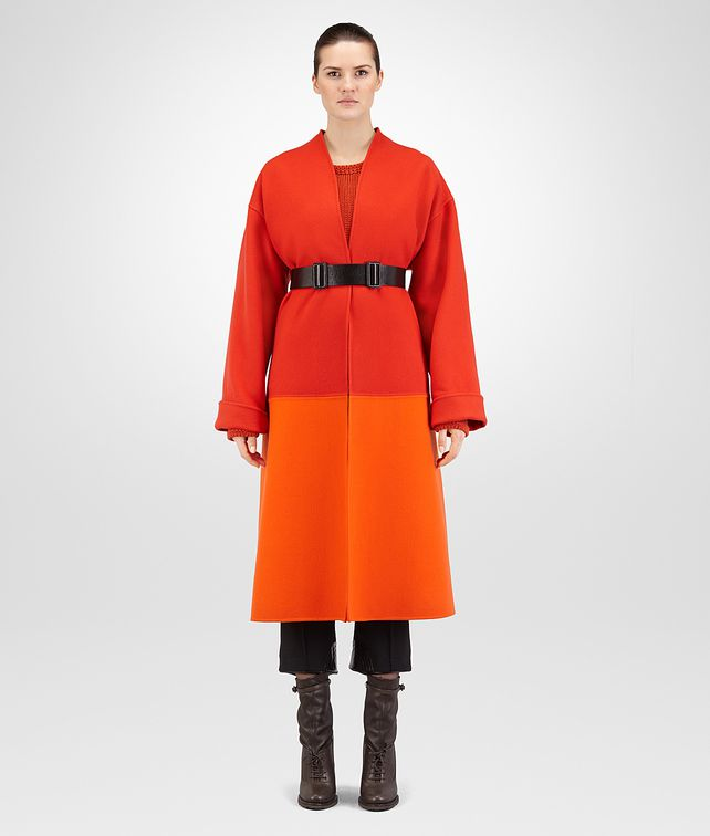 BOTTEGA VENETA TERRACOTTA DOUBLE CASHMERE COAT Outerwear and Jacket Woman fp
