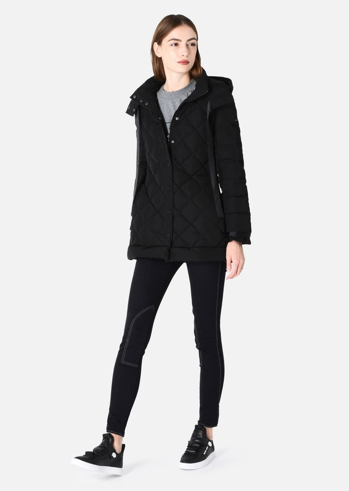QUILTED DOWN JACKET WITH HOOD AND BOW   Woman   Emporio Armani cc300d8c09a