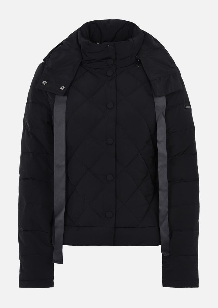 Quilted Down Jacket With Hood And Bow Woman Emporio Armani