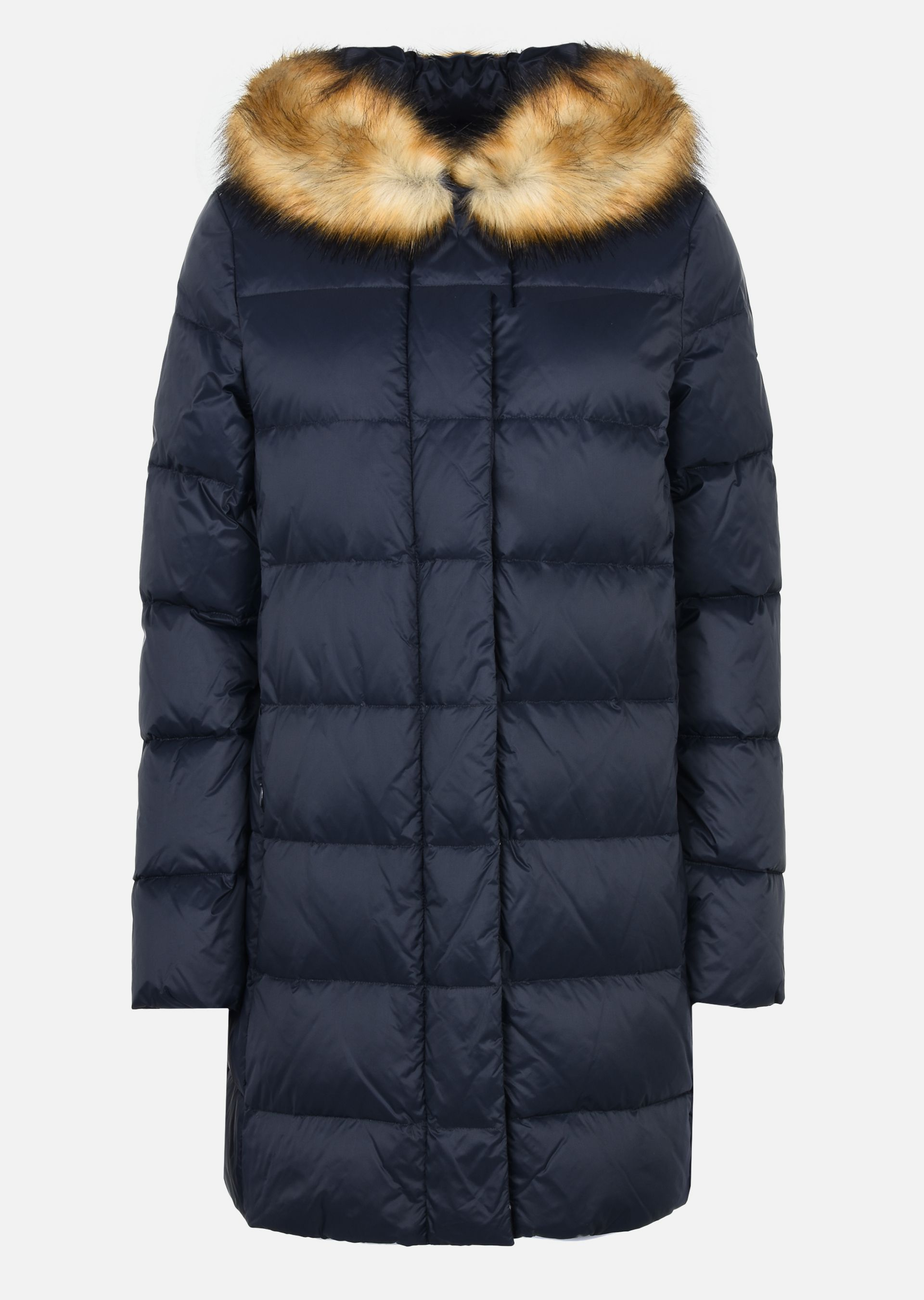 Armani hooded down jacket with fur collar
