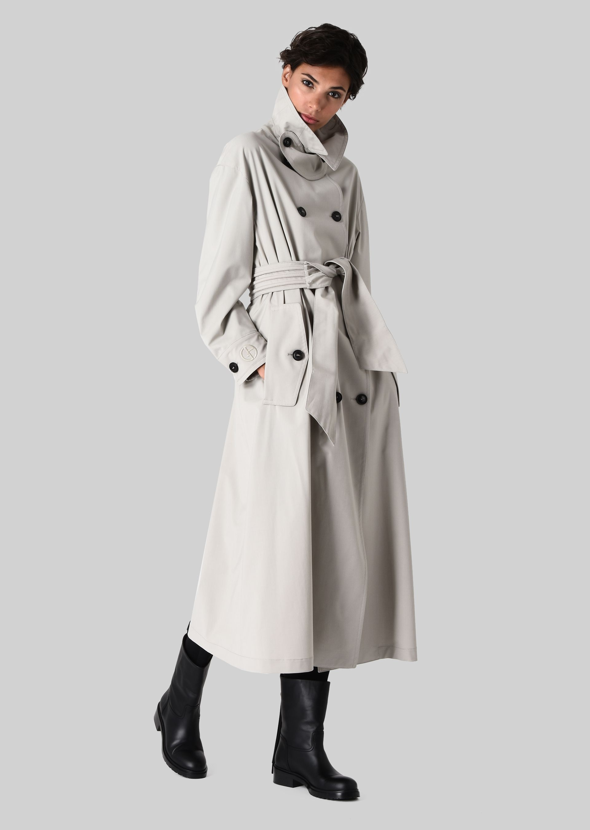 GIORGIO ARMANI DOUBLE-BREASTED TRENCH COAT IN WOOL CLOTH Classic Coat D f