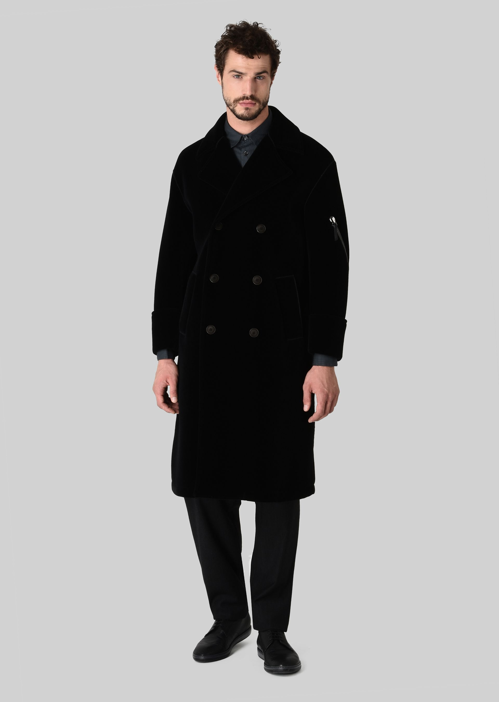 GIORGIO ARMANI DOUBLE-BREASTED COAT IN VELVET Classic Coat U f