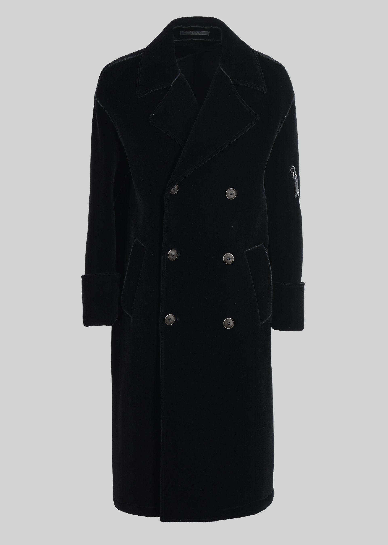 GIORGIO ARMANI DOUBLE-BREASTED COAT IN VELVET Classic Coat U r