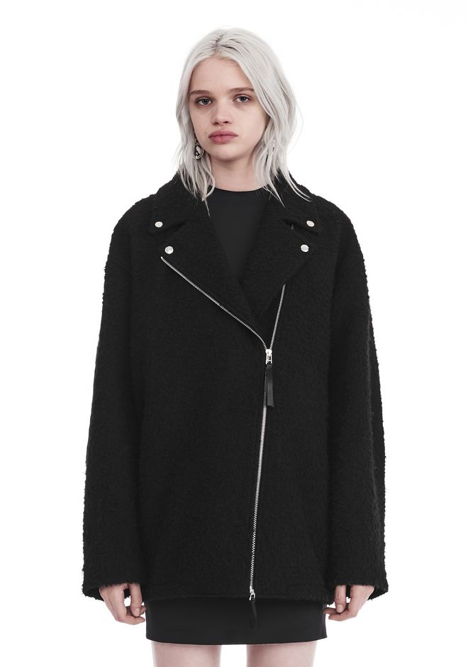 T by ALEXANDER WANG JACKETS AND OUTERWEAR  Women ASYMMETRICAL NOTCH COLLAR WOOL COAT