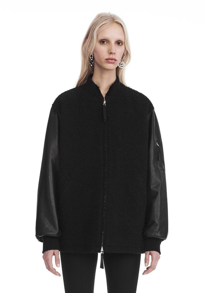 T by ALEXANDER WANG JACKETS AND OUTERWEAR  WOOL BOMBER WITH LEATHER SLEEVES