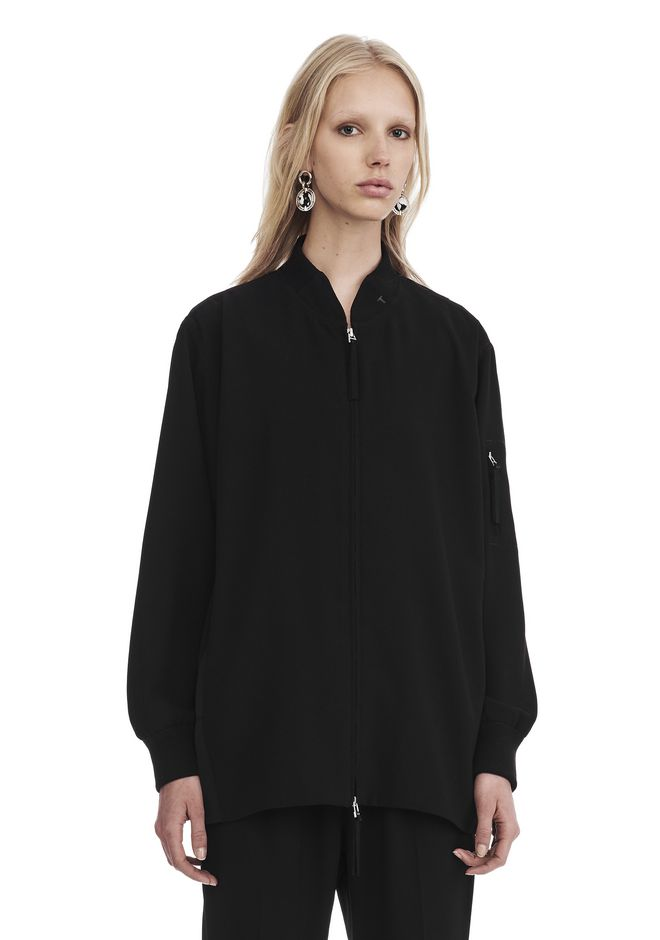 T by ALEXANDER WANG JACKETS AND OUTERWEAR  SATIN CREPE LONG SLEEVE WELDED BOMBER