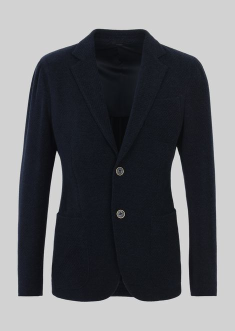 SINGLE-BREASTED JACKET FROM THE UPTON LINE IN WOOL BASKET WEAVE AND COTTON