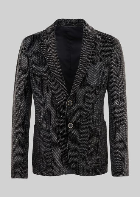 SINGLE-BREASTED JACKET FROM THE UPTON LINE IN FLOCKED VELVET
