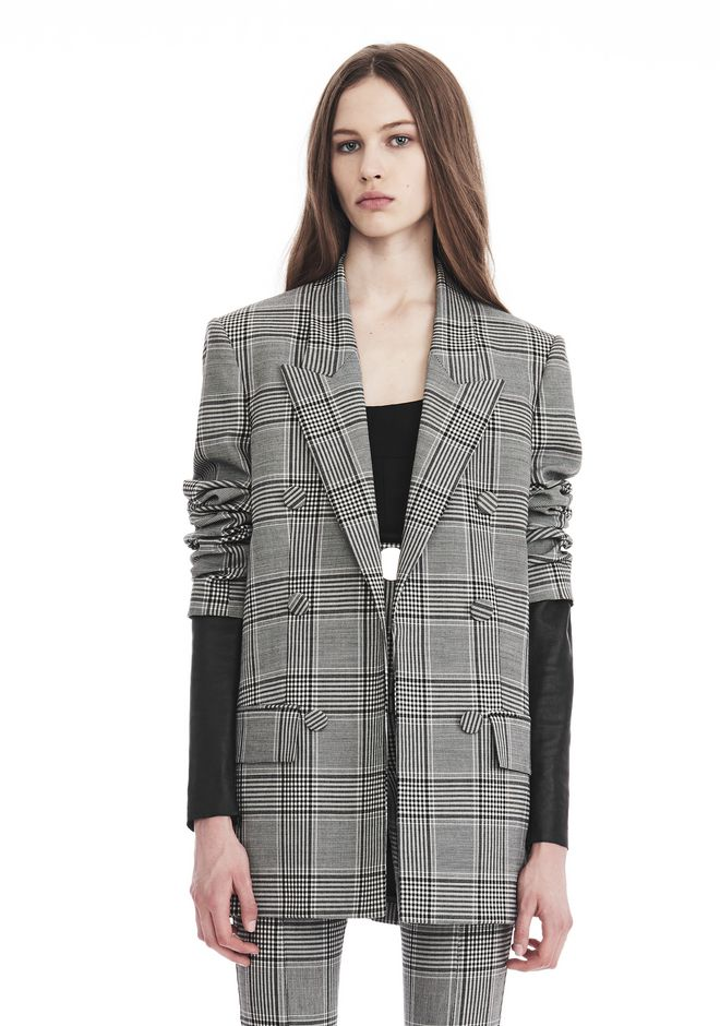 ALEXANDER WANG new-arrivals-ready-to-wear-woman CHECK TAILORING BLAZER WITH LEATHER SLEEVES