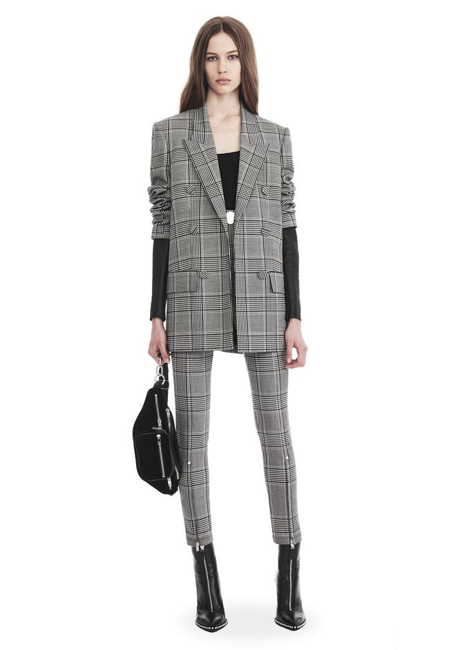 ALEXANDER WANG Check Tailoring Blazer With Leather Sleeves ...