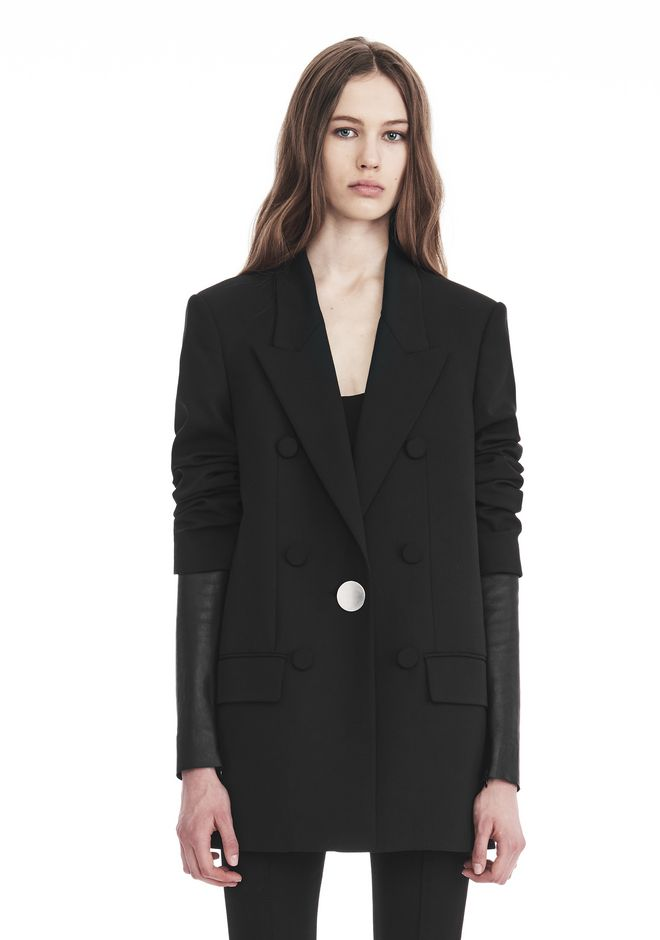 ALEXANDER WANG VESTES ET VÊTEMENTS OUTDOOR Femme SINGLE BREASTED BLAZER WITH LEATHER SLEEVES