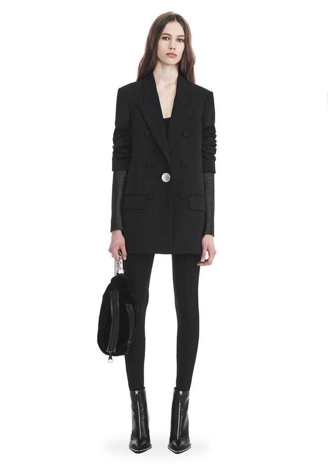 ALEXANDER WANG JACKETS AND OUTERWEAR  SINGLE BREASTED BLAZER WITH LEATHER SLEEVES