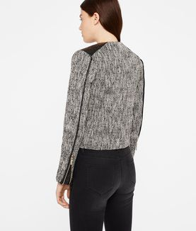 KARL LAGERFELD COATED BOUCLÉ BIKER JACKET