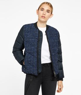KARL LAGERFELD BOUCLÉ QUILTED DOWN BOMBER